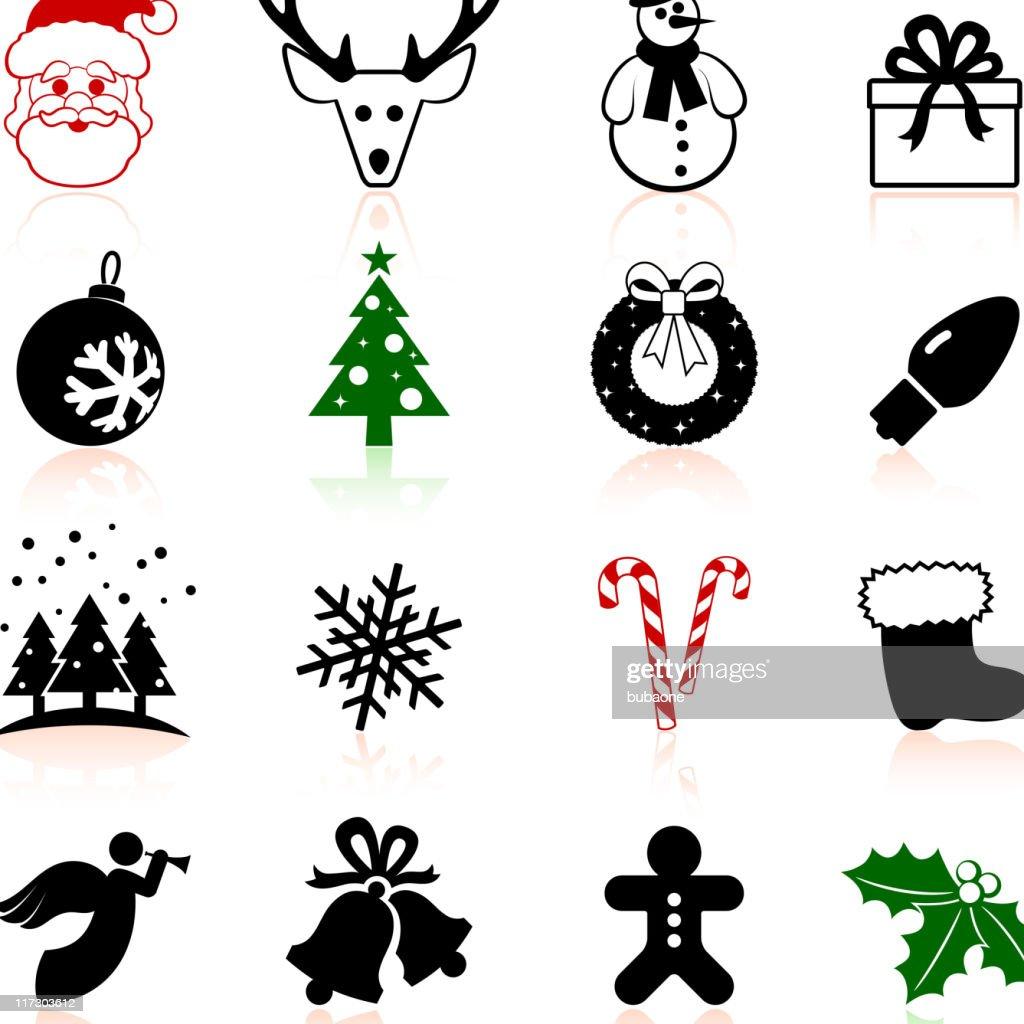 Joyeux Noël Noir Et Blanc Ensemble Dicônes Vectorielles