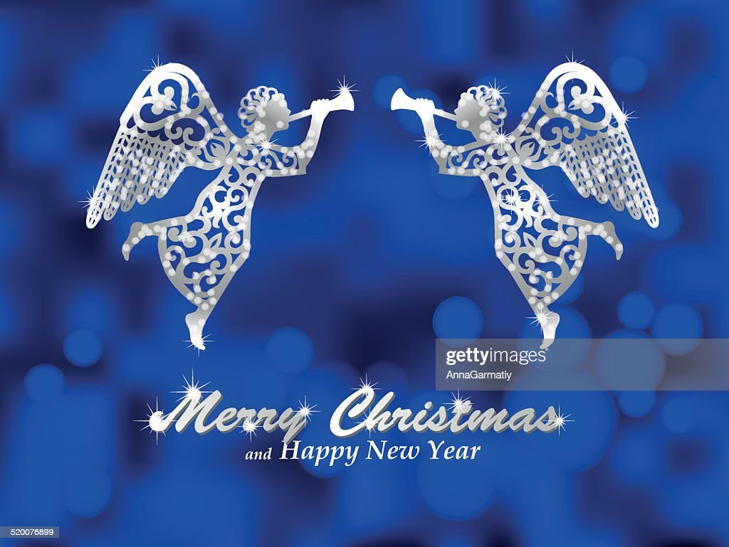 Merry Christmas blue background with silver angels