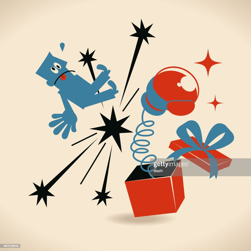 Merry Christmas, Boxing Day, Businessman being hit by a big boxing glove popping out suddenly from a gift box