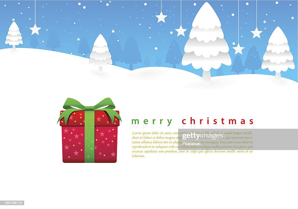 Merry Christmas bright blue sky and white snow around.