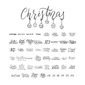 Merry Christmas brush lettering typography. 50 winter vector handdrawn lettering