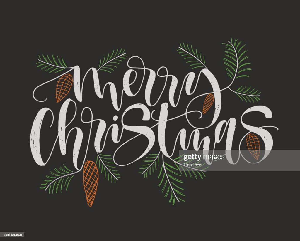 merry christmas calligraphy lettering greeting card creative typography for holiday poster black background with pine cone and pine branch decor