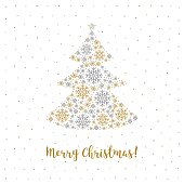 Merry Christmas card Minimalist style, Abstract Tree, Snowflakes, White Background