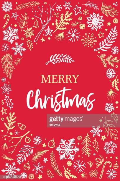 メリークリスマスカードスケッチ - クリスマスマーケット点のイラスト素材/クリップアート素材/マンガ素材/アイコン素材