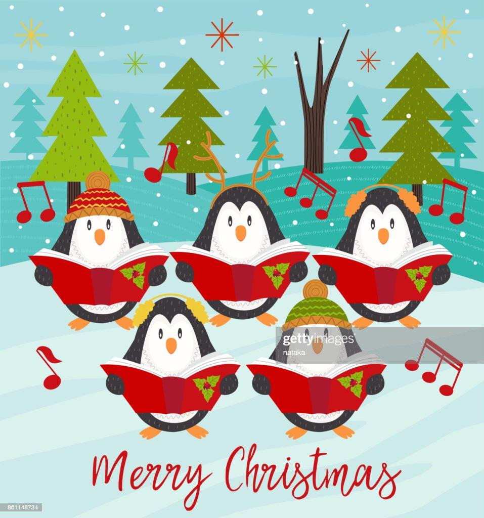 Merry Christmas card with choir penguins