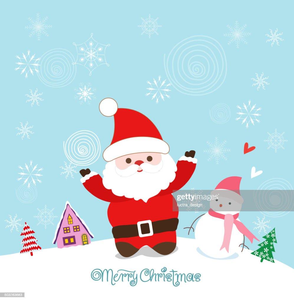 Merry Christmas Card With Santa Claus Snowman And Christmas House ...
