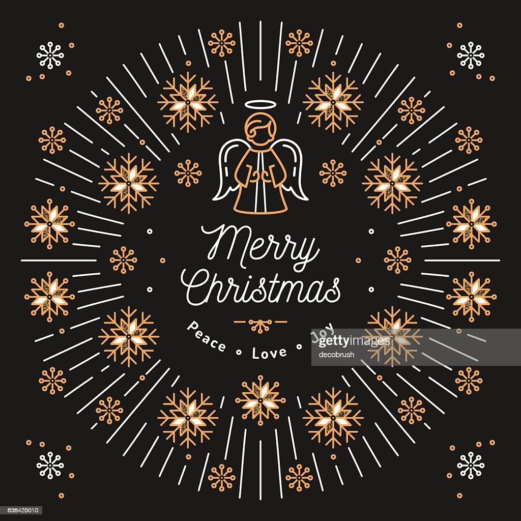 Merry Christmas card, Xmas religious poster, Snowflakes, Trendy bursting rays