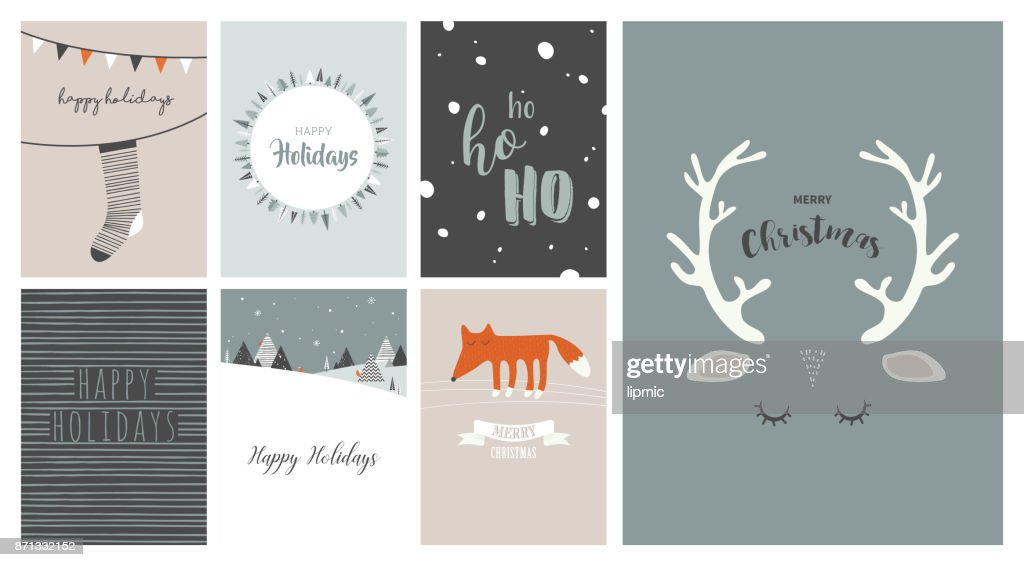 Merry Christmas Cards Illustrations And Icons Lettering Design ...