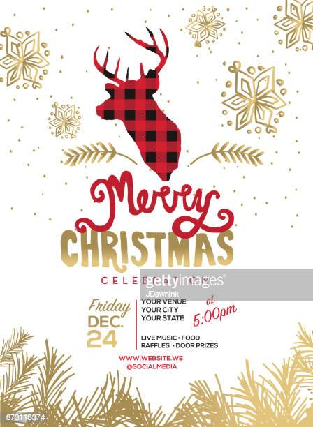 merry christmas celebration invitation design template - frost stock illustrations, clip art, cartoons, & icons