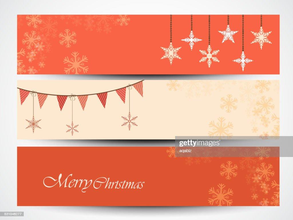 Merry Christmas celebration website header or banner set.