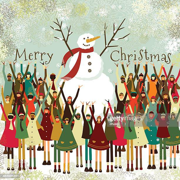 Merry christmas children snowman multiethnic crowd