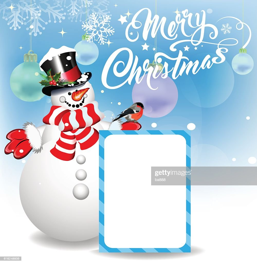 merry christmas, christmas card, snowman : Vector Art