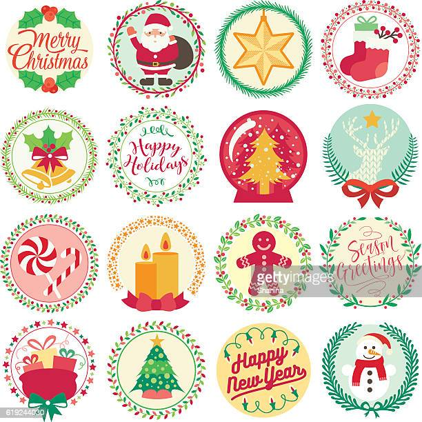 merry christmas - circle icons - sweet food stock illustrations