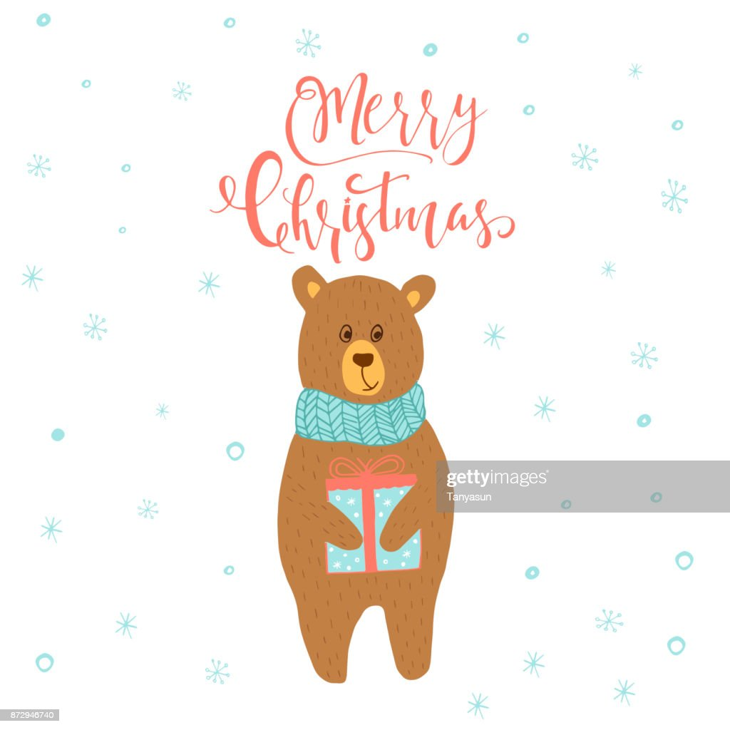Merry Christmas Cute Greeting Card With Bear And Gift For Presen