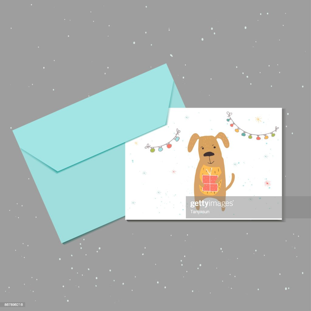 Merry Christmas Cute Greeting Card With Dog Gift Garland And