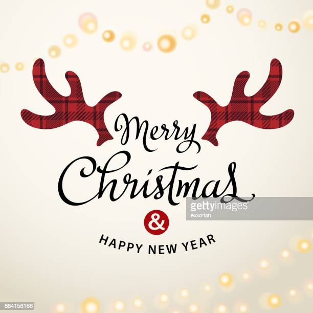 merry christmas deer antlers - reindeer stock illustrations