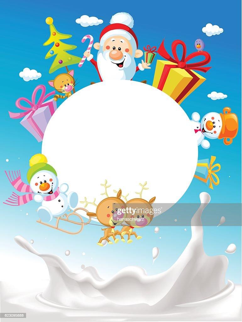 Merry Christmas Frame Design With Santa Claus Vector Vector Art ...