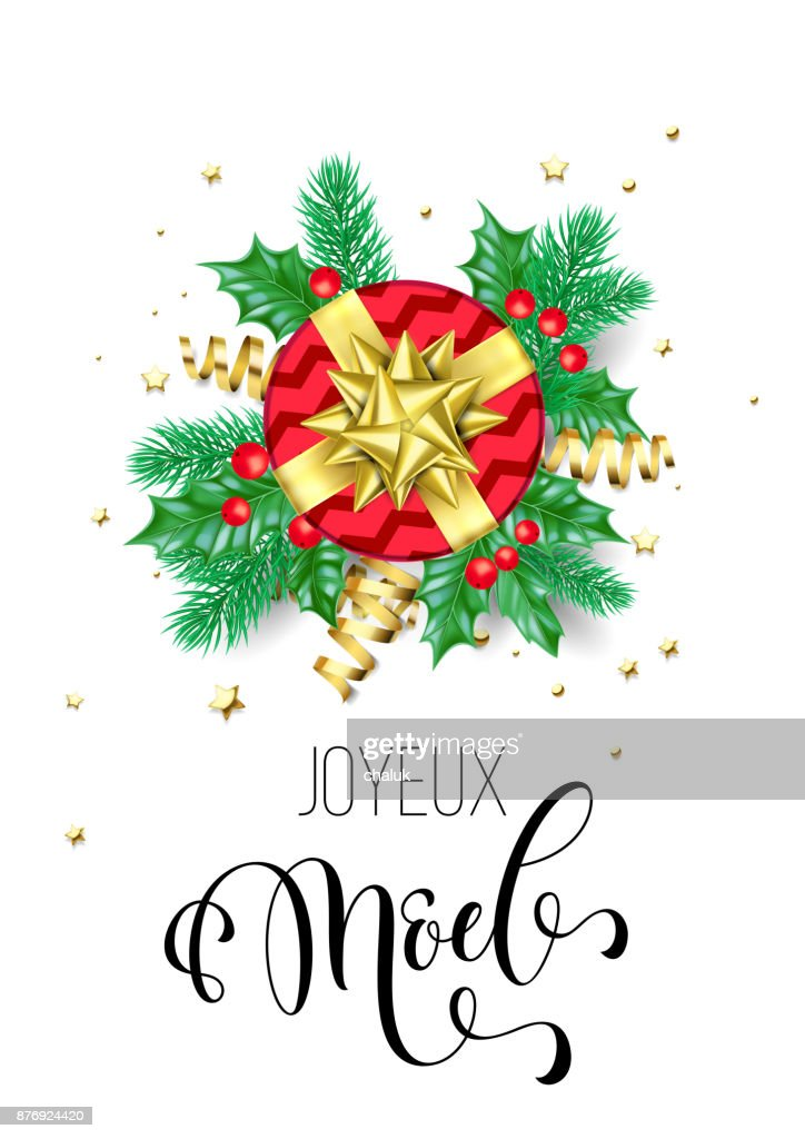 merry christmas french joyeux noel holiday hand drawn quote calligraphy greeting card background template vector - Merry Christmas French