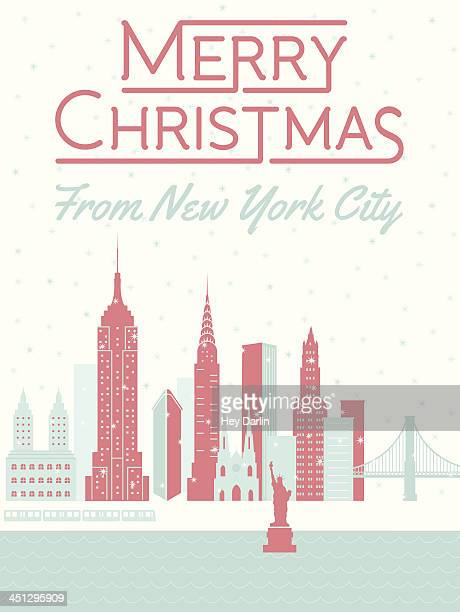merry christmas from new york city - st. patrick's cathedral manhattan stock illustrations, clip art, cartoons, & icons