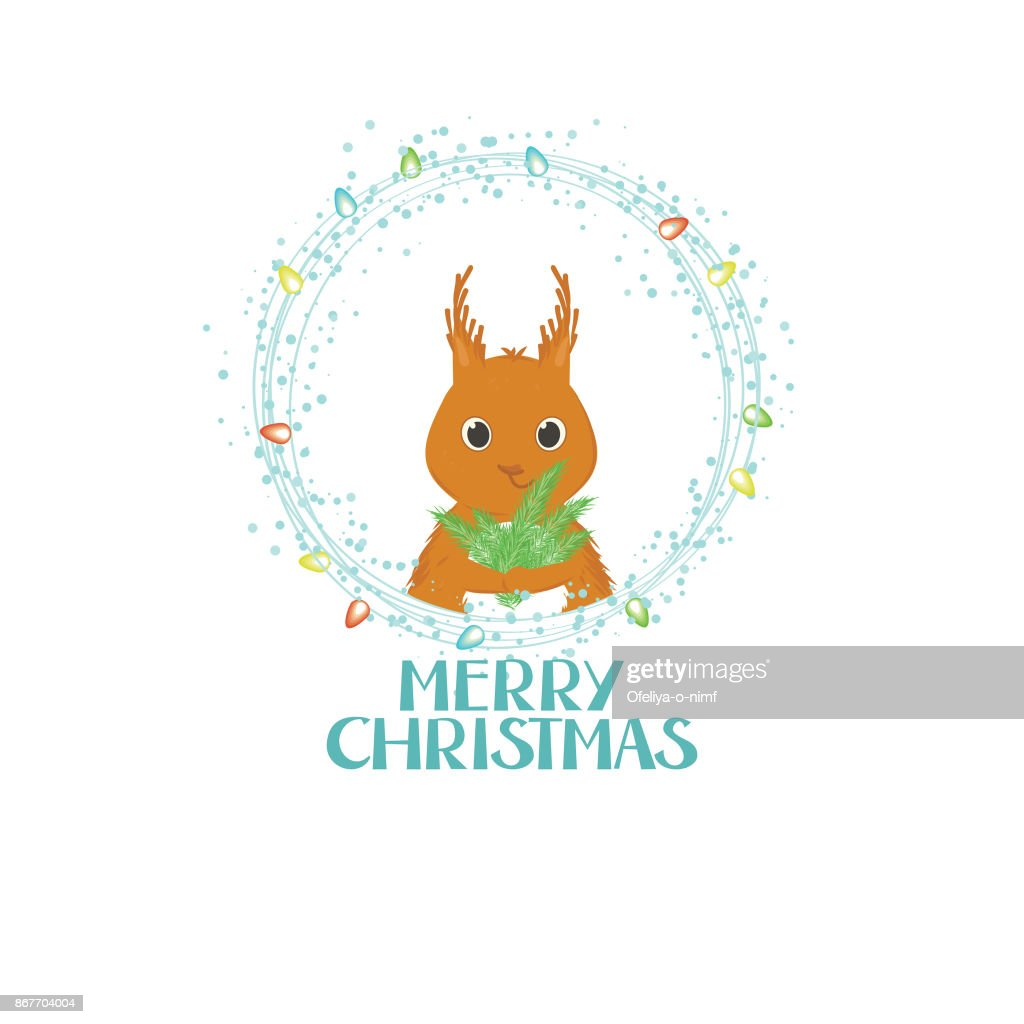 Merry Christmas Gift Card With Lettering And A Small Squirrel Vector ...
