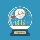Merry christmas glass ball with Santa sleigh against the moon. Vector illustration