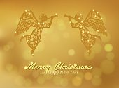 Merry Christmas gold background with angels
