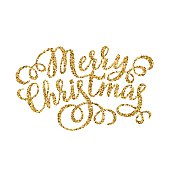 Merry Christmas gold glittering hand lettering inscription