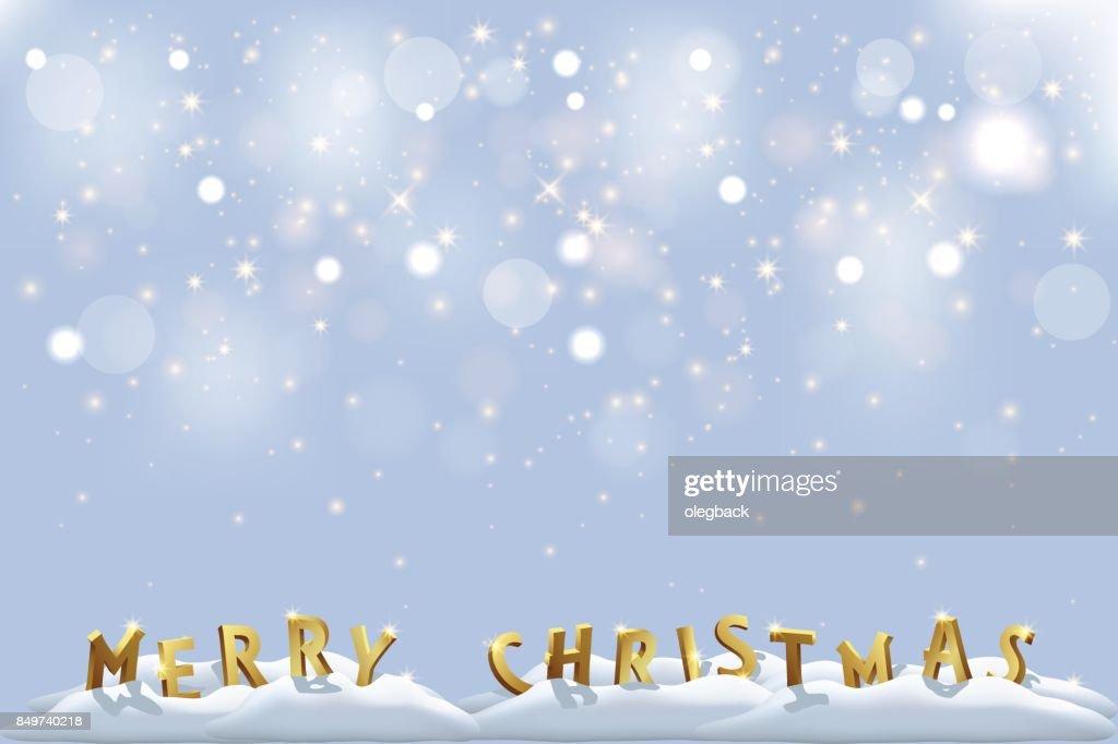 Frohe Weihnachten Goldenen Buchstaben Im Schnee Mit Glitzernden ...