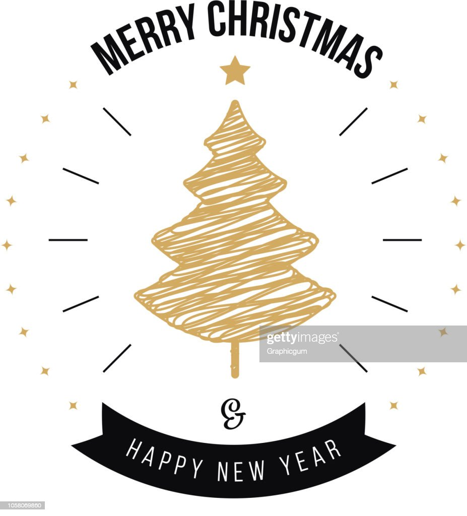 Merry christmas greeting calligraphy gold tree white background