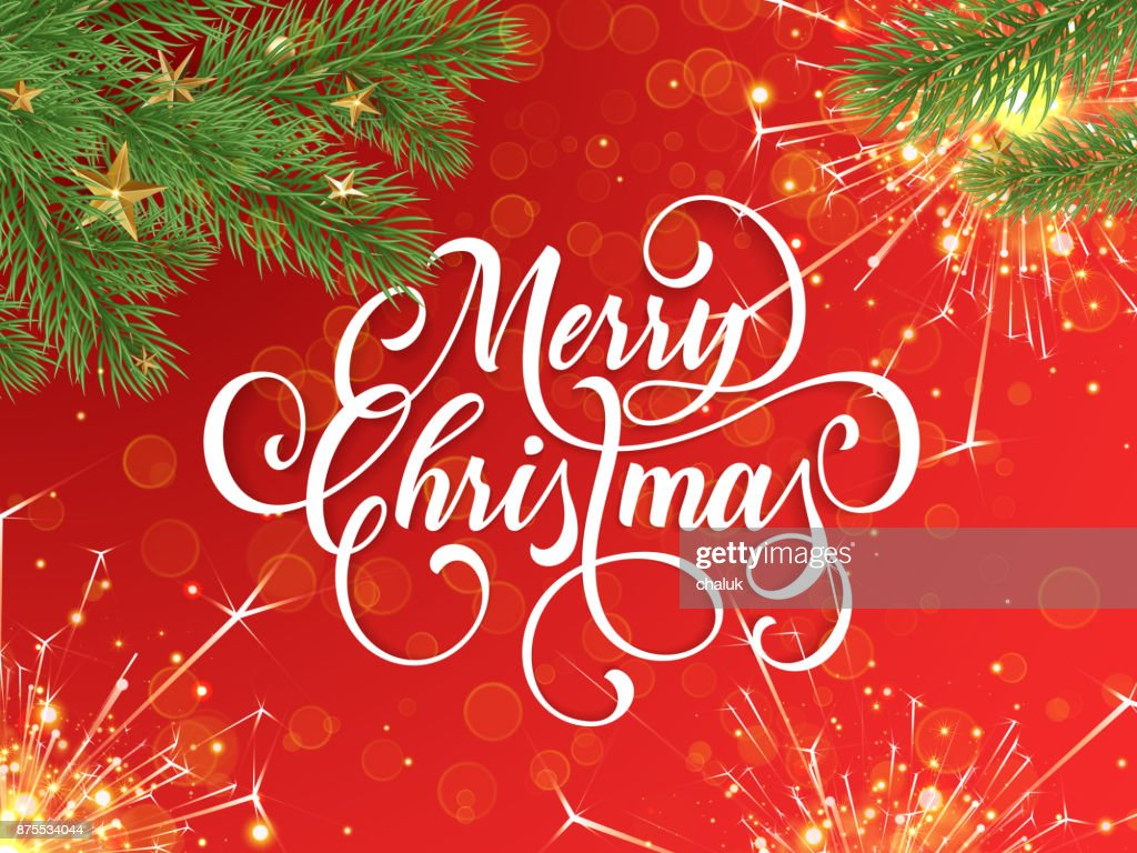 Merry Christmas Greeting Card And Wish Calligraphy Lettering On