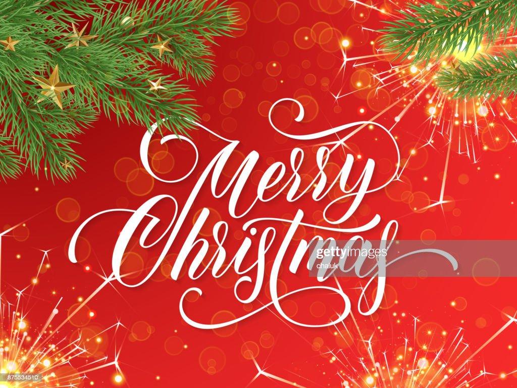 Frohe Weihnachten Grußkarte Und Wunsch Kalligraphie Schriftzug Am ...