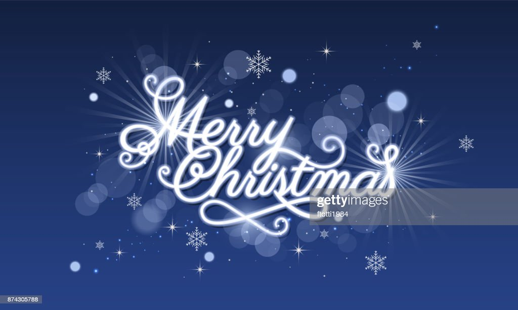 Frohe Weihnachten Glitzer.Frohe Weihnachtengrusskarte Blau Leuchtende Vektor
