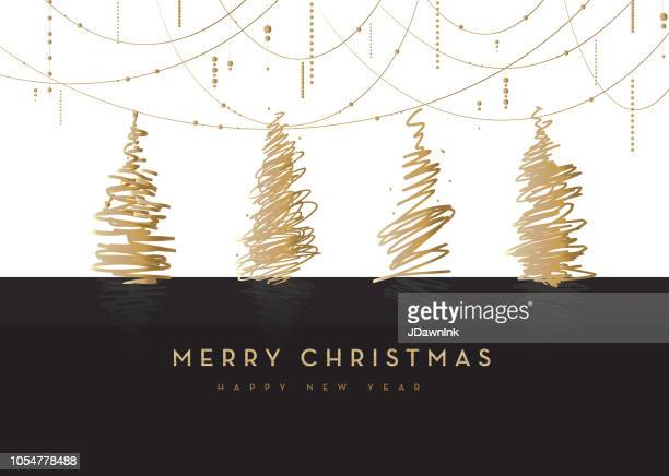 merry christmas greeting card design with trees and hanging bead decorations - bead stock illustrations
