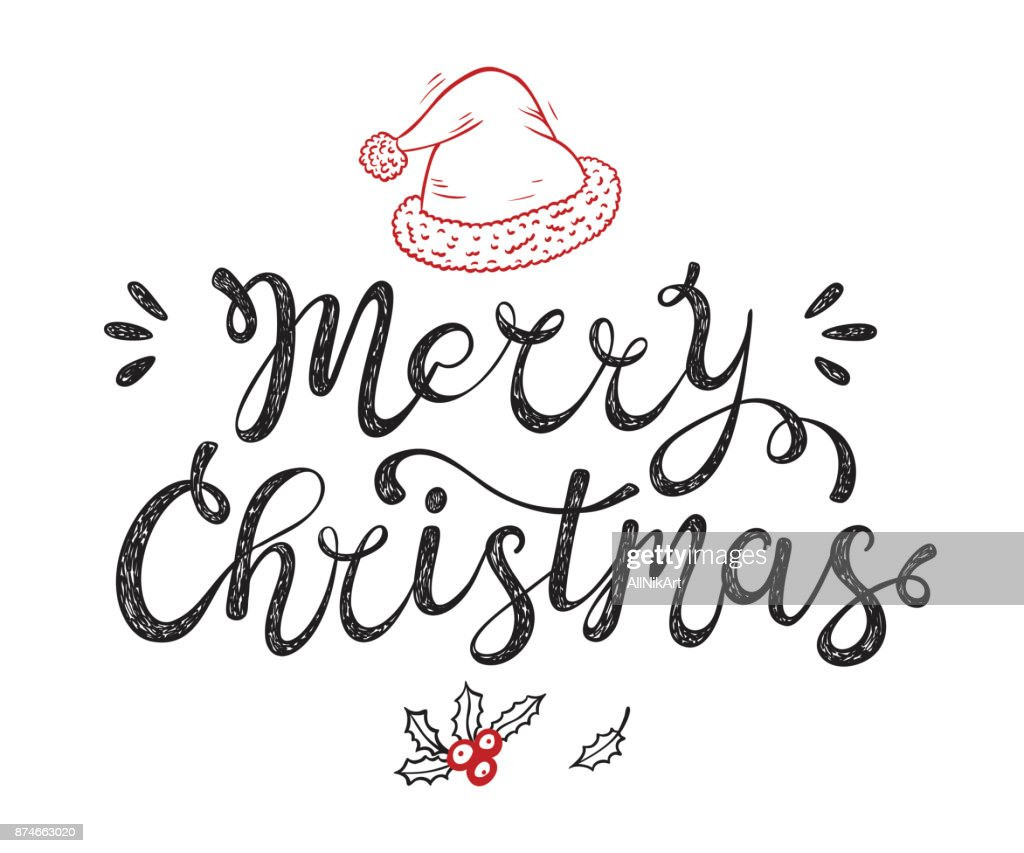 Merry Christmas greeting card. Happy Holidays. Vector winter holiday background with hand lettering calligraphic and Santa Hat, Holly Berries