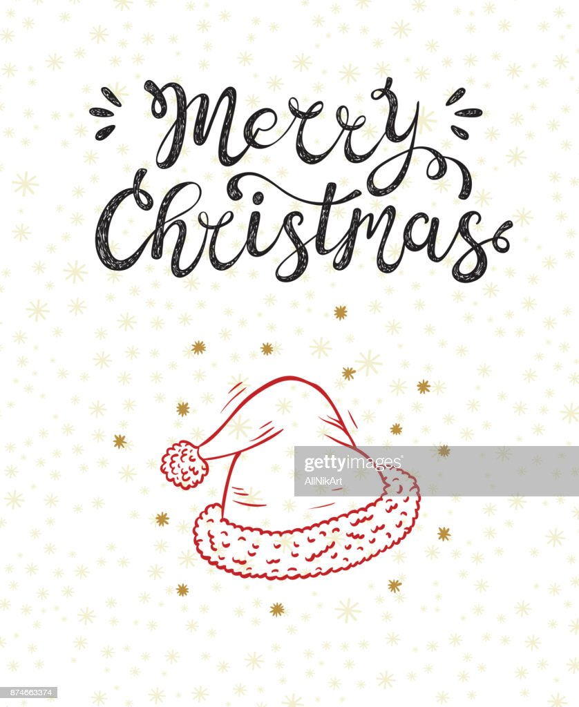 Merry Christmas greeting card. Happy Holidays. Vector winter holiday background with hand lettering calligraphic and Santa Hat