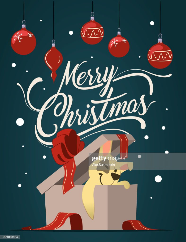 Merry Christmas Greeting Card In Cartoon Style Cute Dog Character