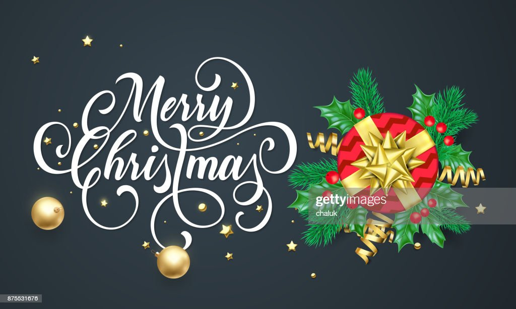 Merry Christmas Greeting Card Of Gift In Golden Ribbon Bow On Black ...