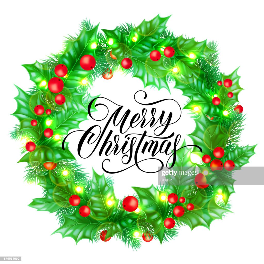 Merry Christmas Greeting Card Of Holy And Fir Or Pine Wreath And