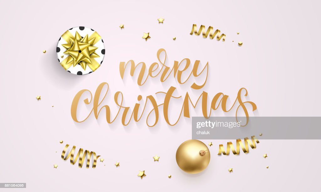 Merry Christmas Greeting Card Template Background Of Golden Glitter