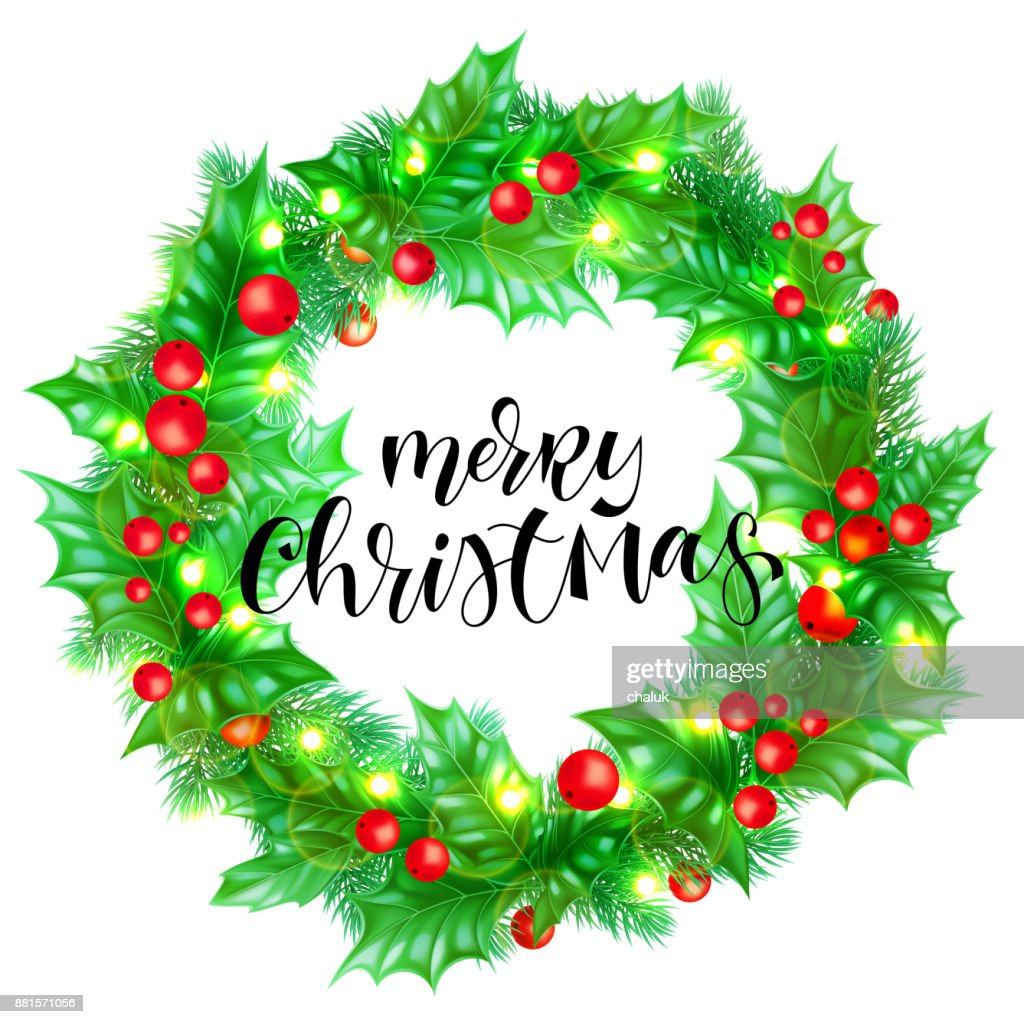 Merry christmas greeting card template background of holiday quote merry christmas greeting card template background of holiday quote hand drawn calligraphy text holly wreath and christmas lights garland maxwellsz