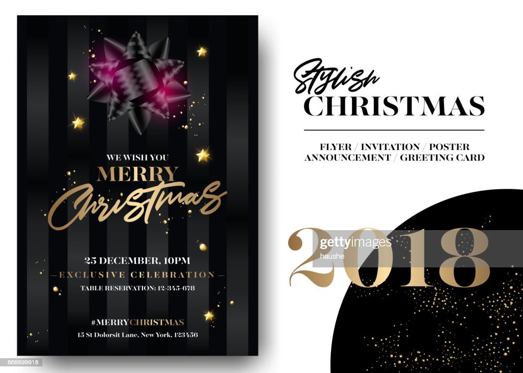 Merry christmas greeting card template vector elegant black merry christmas greeting card template vector elegant black invitation design xmas celebration event poster m4hsunfo