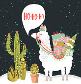 Merry Christmas greeting card with fun alpaca