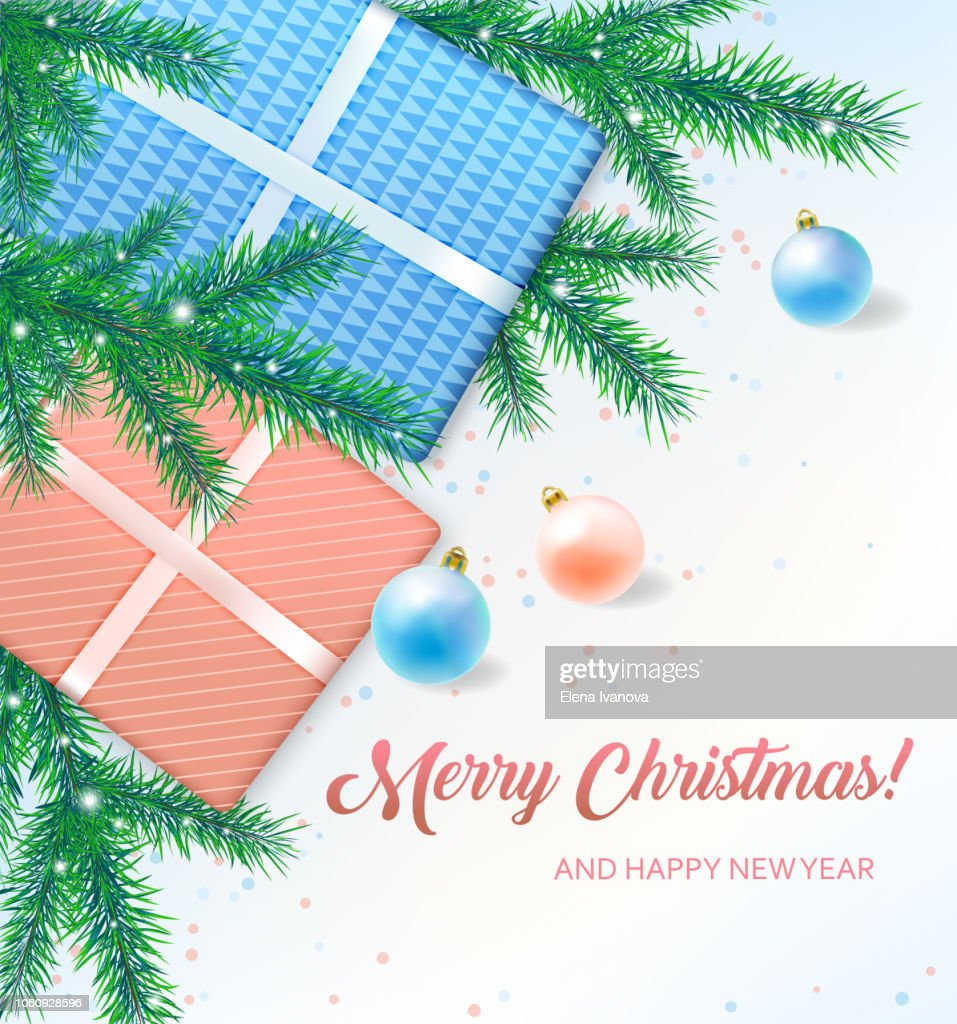 Merry Christmas greeting card with gift boxes, xmas balls and fir tree branches.