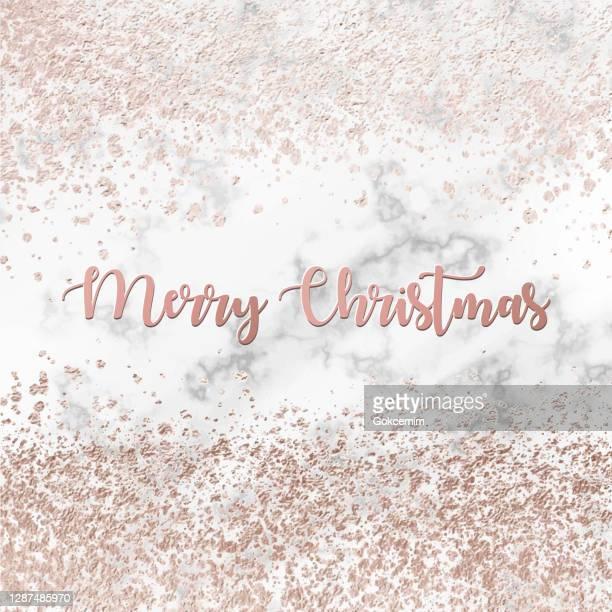ローズゴールド箔紙吹雪パターンベクトルの背景とメリークリスマスグリーティングカード。幾何学的な抽象ベクター パターン タイル。バナーデザイン、カード用メタリックゴールデンテ� - ローズゴールド点のイラスト素材/クリップアート素材/マンガ素材/アイコン素材