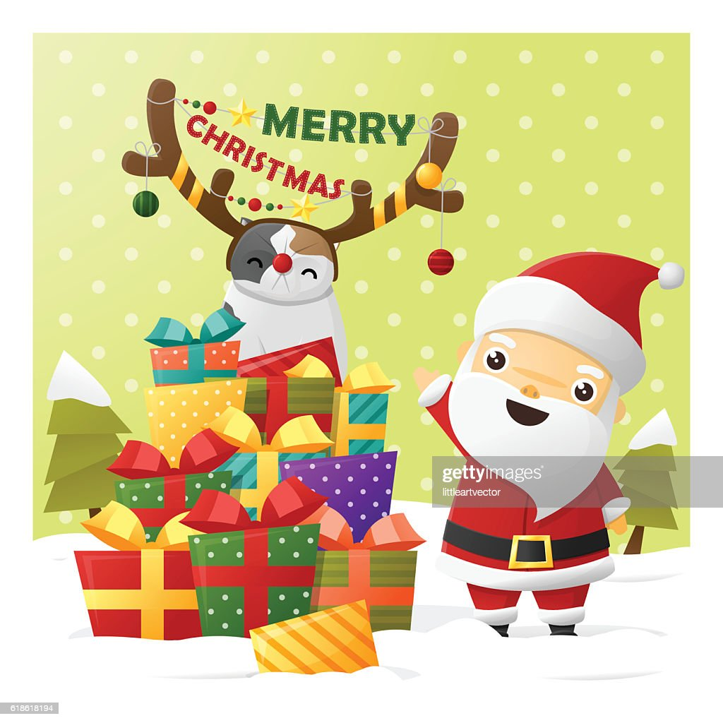 Merry Christmas Greeting Card With Santa Claus 2 Vector Art Getty