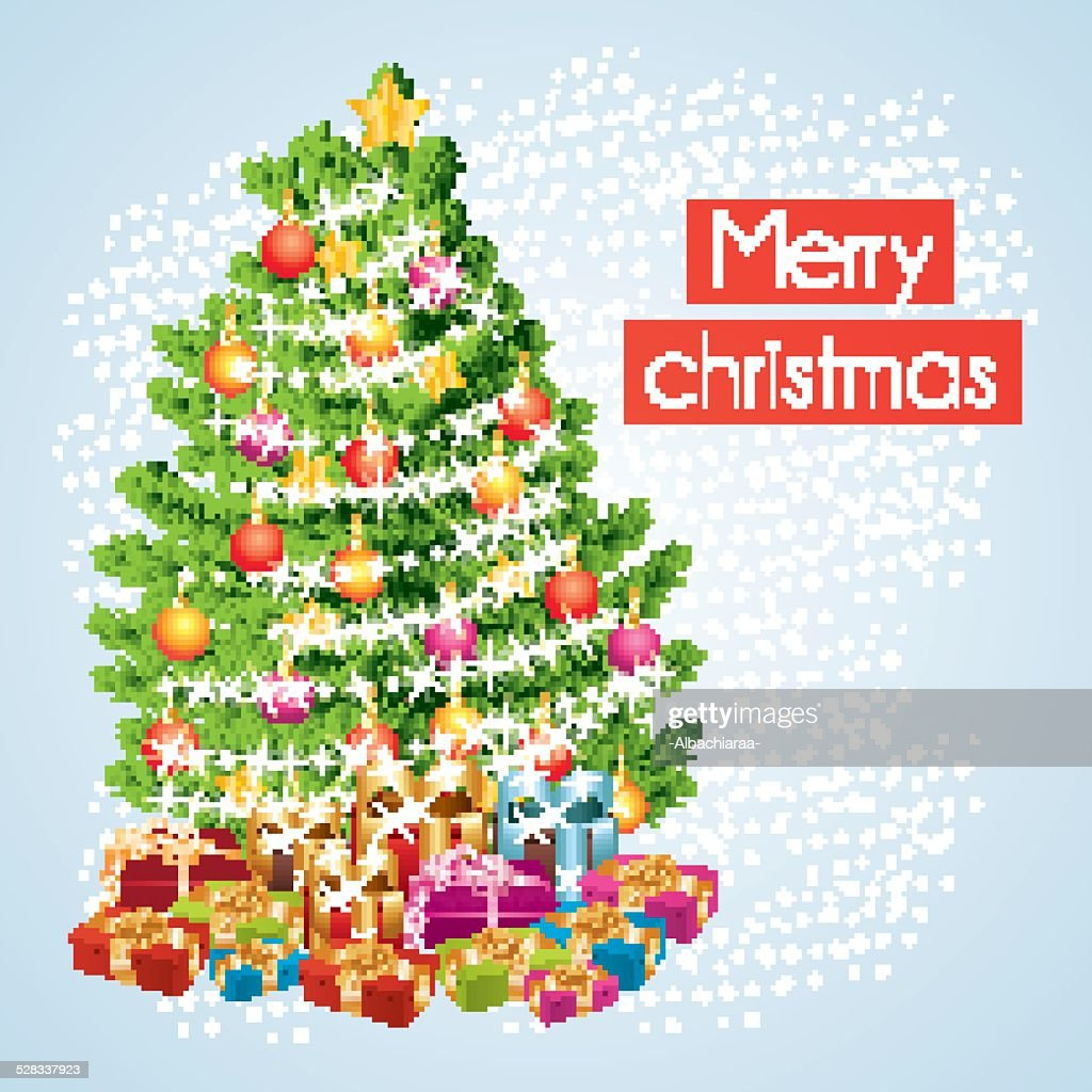 Merry christmas greeting card with snowfall and gifts.