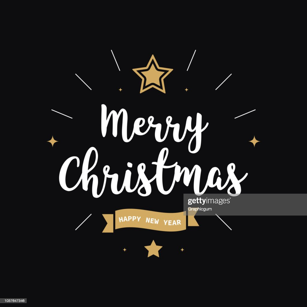 Merry christmas greeting text gold black background
