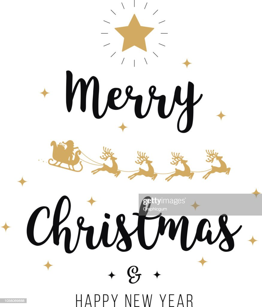 Merry christmas greeting text gold santa sleigh white background