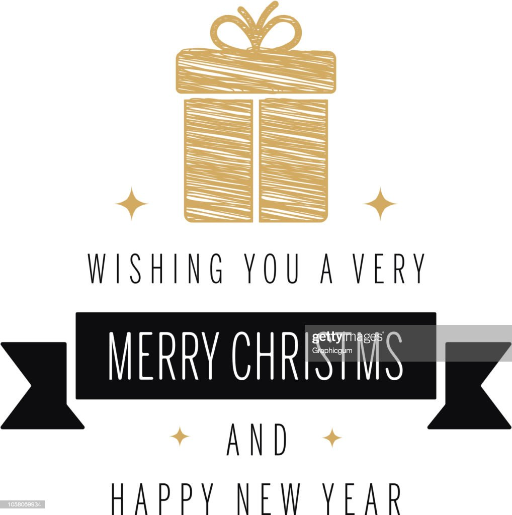 Merry christmas greeting text gold scribble gift white background
