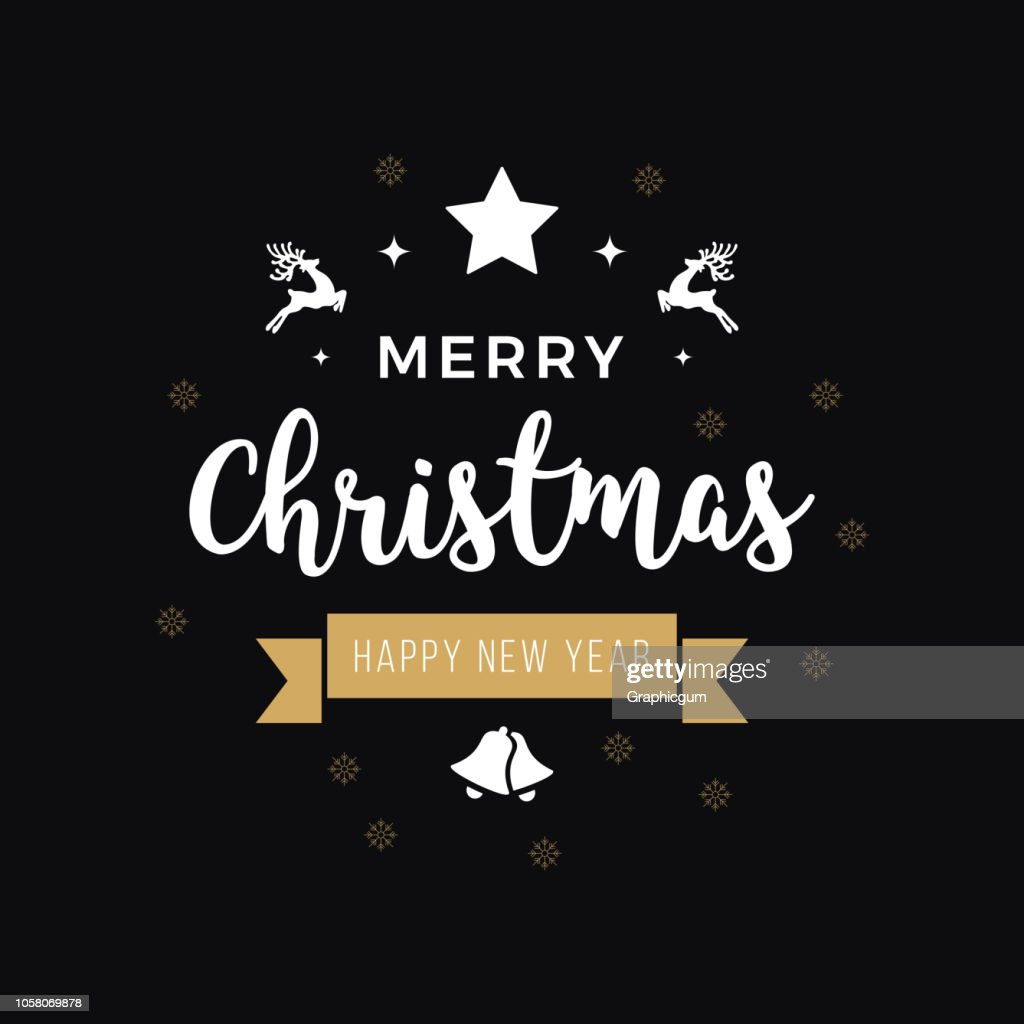 Merry christmas greeting text ornaments gold black background